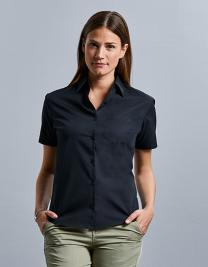 Ladies` Short Sleeve Classic Pure Cotton Poplin Shirt